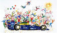 F1ゴール風船と花火で喜ぶ祝福のファン