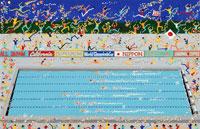 水泳の決勝戦で応援する観客