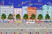 シティーマラソン風船を持って応援の沿道
