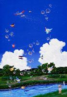 夏の入道雲と小川とシャボンで遊ぶ妖精達