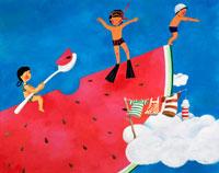 真夏の青い空とスイカの上のガキ大将たち