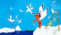日焼けした男の子の天使がカモメと遊ぶ夏 02237004772| 写真素材・ストックフォト・画像・イラスト素材|アマナイメージズ
