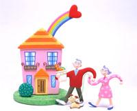 虹がかかるマイホームと買い物帰りの老夫婦