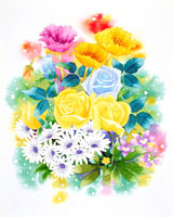 ポピーやバラなど春のブーケ
