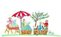 マルシェで果物を売る人と買い物をする女性