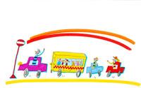 虹色の空のもと車で元気に家族旅行