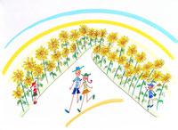 ひまわり畑で散歩する夫婦と見守る子供