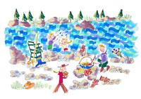 夏の川辺にて家族で楽しむキャンプ