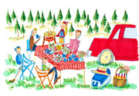 森の中でキャンプでバーベキューを楽しむ人