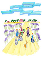 ラヴェンダー畑でサイクリングする家族と犬