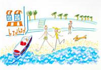 海岸を散歩するカップルと犬