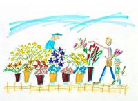 いろとりどりの花屋で花を買う親子