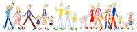 楽しそうに歩く小さな子供連れの5組の家族