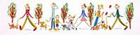 犬を連れて散歩を楽しむ家族やカップル