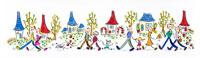 家が立ち並ぶ街を歩く家族やカップル