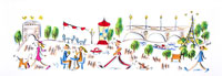 パリの街角を散歩やお茶を楽しむ人々