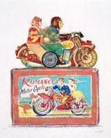 ブリキのおもちゃ バイクに乗るカップル
