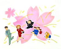 4月桜咲き新入生新入社員達が元気に初出 02237005045| 写真素材・ストックフォト・画像・イラスト素材|アマナイメージズ