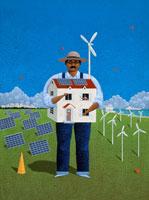 太陽発電と風力プロペラ風景に家を抱く大男