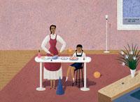 広いキッチンで母と女の子が2人楽しく料理 02237005180| 写真素材・ストックフォト・画像・イラスト素材|アマナイメージズ
