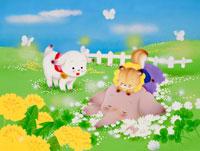 シロツメクサの野原で転がるゾウと子ヤギ達