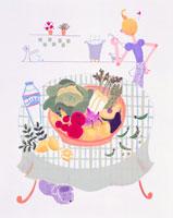 テ-ブル・野菜・料理している女性の後ろ姿 02237005724| 写真素材・ストックフォト・画像・イラスト素材|アマナイメージズ