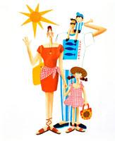 照りつける太陽と夏服の4人家族