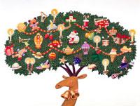 トナカイの角がクリスマスツリーに。