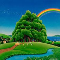 大きな木にかかる虹、雨上がりを喜ぶ家族