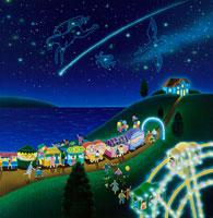 夜店と観覧車と流れ星のイラスト