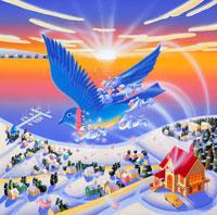 幸せを運ぶ青い鳥に乗った妖精と初日の出