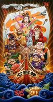 宝船と七福神と鶴亀と赤富士と朝日