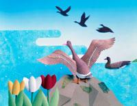ペーパークラフト 雁とチューリップ 春
