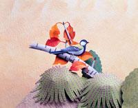 ペーパークラフト シジュウカラ 秋 02237006352| 写真素材・ストックフォト・画像・イラスト素材|アマナイメージズ