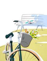 公園の自転車 籠に春の花束