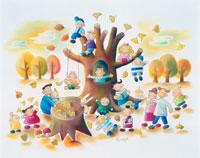 大木の麓で秋の落葉を楽しむ子供や恋人 02237006482| 写真素材・ストックフォト・画像・イラスト素材|アマナイメージズ