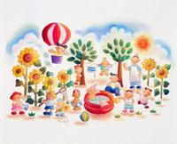 気球 ヒマワリ プールで遊ぶ子供や大人 02237006483| 写真素材・ストックフォト・画像・イラスト素材|アマナイメージズ