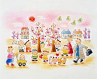 梅の木の元に集まる親子サラリーマン子供