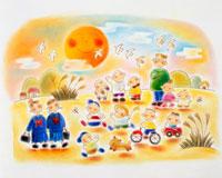 日本の秋 夕焼けと女学生と楽しそうな子供 02237006498| 写真素材・ストックフォト・画像・イラスト素材|アマナイメージズ