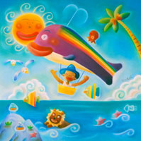 鯨の飛行船が元気に飛んでいる夏の海辺