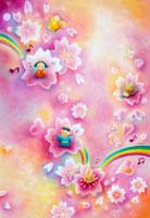 満開の桜を楽しむ男の子と女の子と虹の様子
