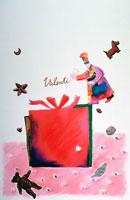 赤いリボンの箱とバレンタインのパティシエ