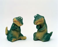 立体 考える2匹の恐竜