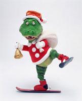 立体 スキーで配達するクリスマス恐竜