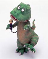 立体 マイクを持つカラオケ恐竜正面