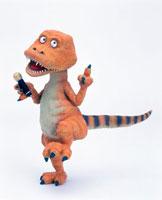 立体 マイクを手にするカラオケ恐竜横