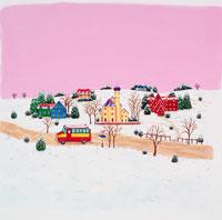 雪景色家の前を3色 赤緑黄 のバスが走る
