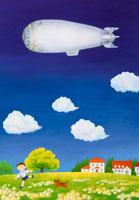 青空に飛行船