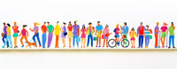 自転車やラケットを持った人々のパノラマ 02237006954| 写真素材・ストックフォト・画像・イラスト素材|アマナイメージズ