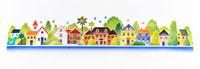 色とりどりの鳥や家があるパノラマ